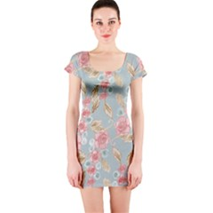 Background Page Template Floral Short Sleeve Bodycon Dress