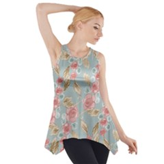 Background Page Template Floral Side Drop Tank Tunic