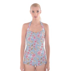 Background Page Template Floral Boyleg Halter Swimsuit