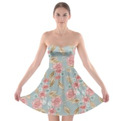 Background Page Template Floral Strapless Bra Top Dress