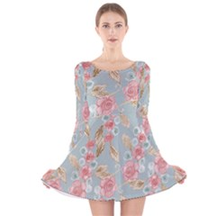 Background Page Template Floral Long Sleeve Velvet Skater Dress