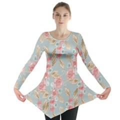 Background Page Template Floral Long Sleeve Tunic
