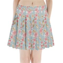 Background Page Template Floral Pleated Mini Skirt