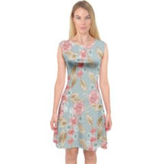 Background Page Template Floral Capsleeve Midi Dress