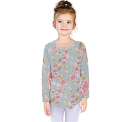 Background Page Template Floral Kids  Long Sleeve Tee