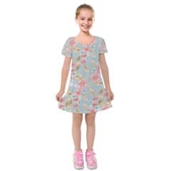 Background Page Template Floral Kids  Short Sleeve Velvet Dress