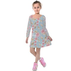 Background Page Template Floral Kids  Long Sleeve Velvet Dress