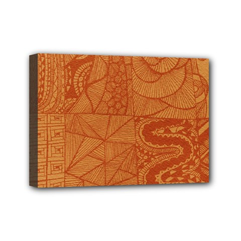 Burnt Amber Orange Brown Abstract Mini Canvas 7  X 5