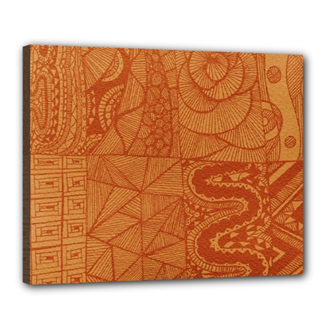 Burnt Amber Orange Brown Abstract Canvas 20  X 16