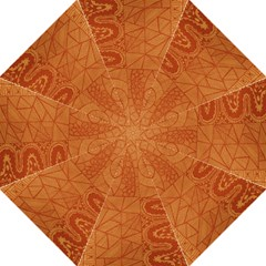 Burnt Amber Orange Brown Abstract Folding Umbrellas