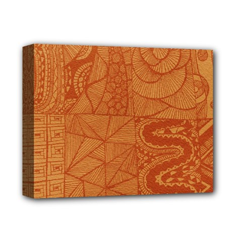 Burnt Amber Orange Brown Abstract Deluxe Canvas 14  X 11