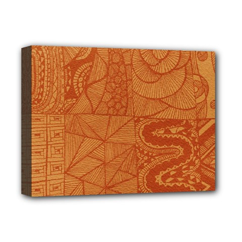 Burnt Amber Orange Brown Abstract Deluxe Canvas 16  X 12