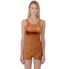 Burnt Amber Orange Brown Abstract One Piece Boyleg Swimsuit