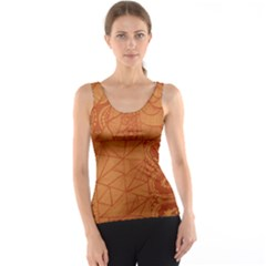 Burnt Amber Orange Brown Abstract Tank Top