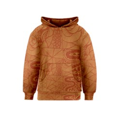 Burnt Amber Orange Brown Abstract Kids  Pullover Hoodie