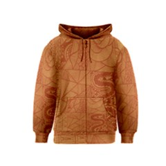 Burnt Amber Orange Brown Abstract Kids  Zipper Hoodie