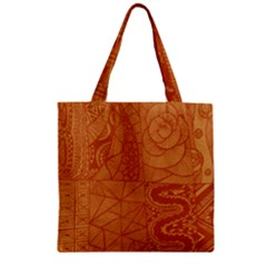 Burnt Amber Orange Brown Abstract Zipper Grocery Tote Bag