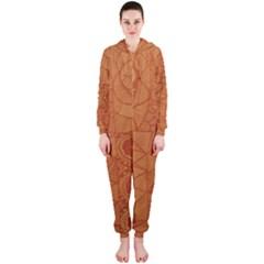 Burnt Amber Orange Brown Abstract Hooded Jumpsuit (ladies)