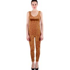 Burnt Amber Orange Brown Abstract Onepiece Catsuit