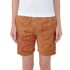 Burnt Amber Orange Brown Abstract Women s Basketball Shorts