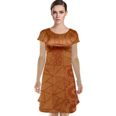 Burnt Amber Orange Brown Abstract Cap Sleeve Nightdress
