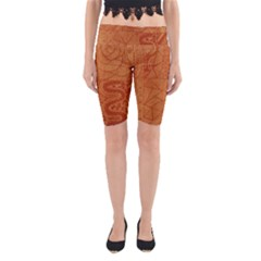 Burnt Amber Orange Brown Abstract Yoga Cropped Leggings