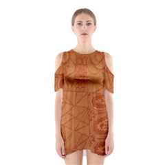 Burnt Amber Orange Brown Abstract Shoulder Cutout One Piece