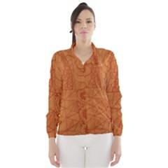 Burnt Amber Orange Brown Abstract Wind Breaker (women)