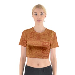 Burnt Amber Orange Brown Abstract Cotton Crop Top