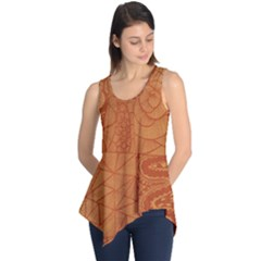 Burnt Amber Orange Brown Abstract Sleeveless Tunic