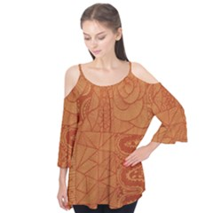 Burnt Amber Orange Brown Abstract Flutter Tees