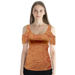 Burnt Amber Orange Brown Abstract Butterfly Sleeve Cutout Tee