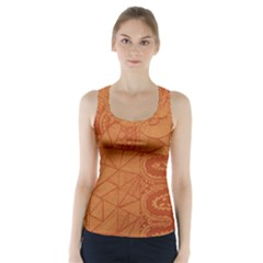 Burnt Amber Orange Brown Abstract Racer Back Sports Top