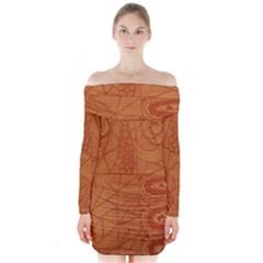 Burnt Amber Orange Brown Abstract Long Sleeve Off Shoulder Dress