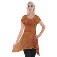 Burnt Amber Orange Brown Abstract Short Sleeve Side Drop Tunic