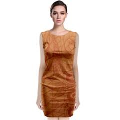 Burnt Amber Orange Brown Abstract Sleeveless Velvet Midi Dress