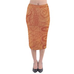 Burnt Amber Orange Brown Abstract Velvet Midi Pencil Skirt