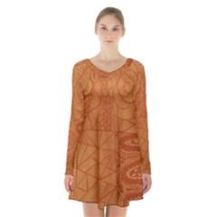 Burnt Amber Orange Brown Abstract Long Sleeve Velvet V Neck Dress