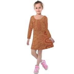 Burnt Amber Orange Brown Abstract Kids  Long Sleeve Velvet Dress