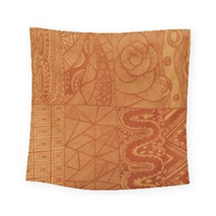 Burnt Amber Orange Brown Abstract Square Tapestry (small)