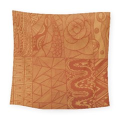 Burnt Amber Orange Brown Abstract Square Tapestry (large)