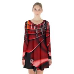 Fractal Mathematics Abstract Long Sleeve Velvet V Neck Dress