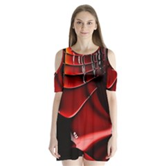 Fractal Mathematics Abstract Shoulder Cutout Velvet  One Piece
