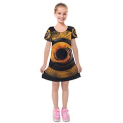 Fractal Mathematics Abstract Kids  Short Sleeve Velvet Dress