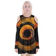 Fractal Mathematics Abstract Velvet Long Sleeve Shoulder Cutout Dress