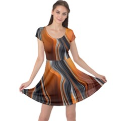 Fractal Structure Mathematics Cap Sleeve Dresses