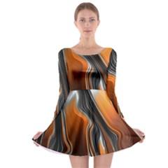 Fractal Structure Mathematics Long Sleeve Skater Dress