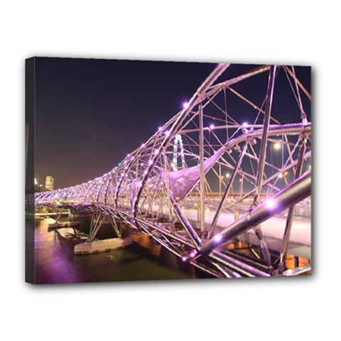 Helixbridge Bridge Lights Night Canvas 16  X 12