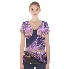 Helixbridge Bridge Lights Night Short Sleeve Front Detail Top