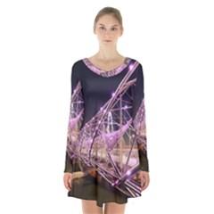 Helixbridge Bridge Lights Night Long Sleeve Velvet V Neck Dress